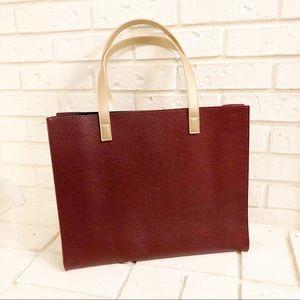 Handbags - Burgundy and Gold Vegan Leather Tote